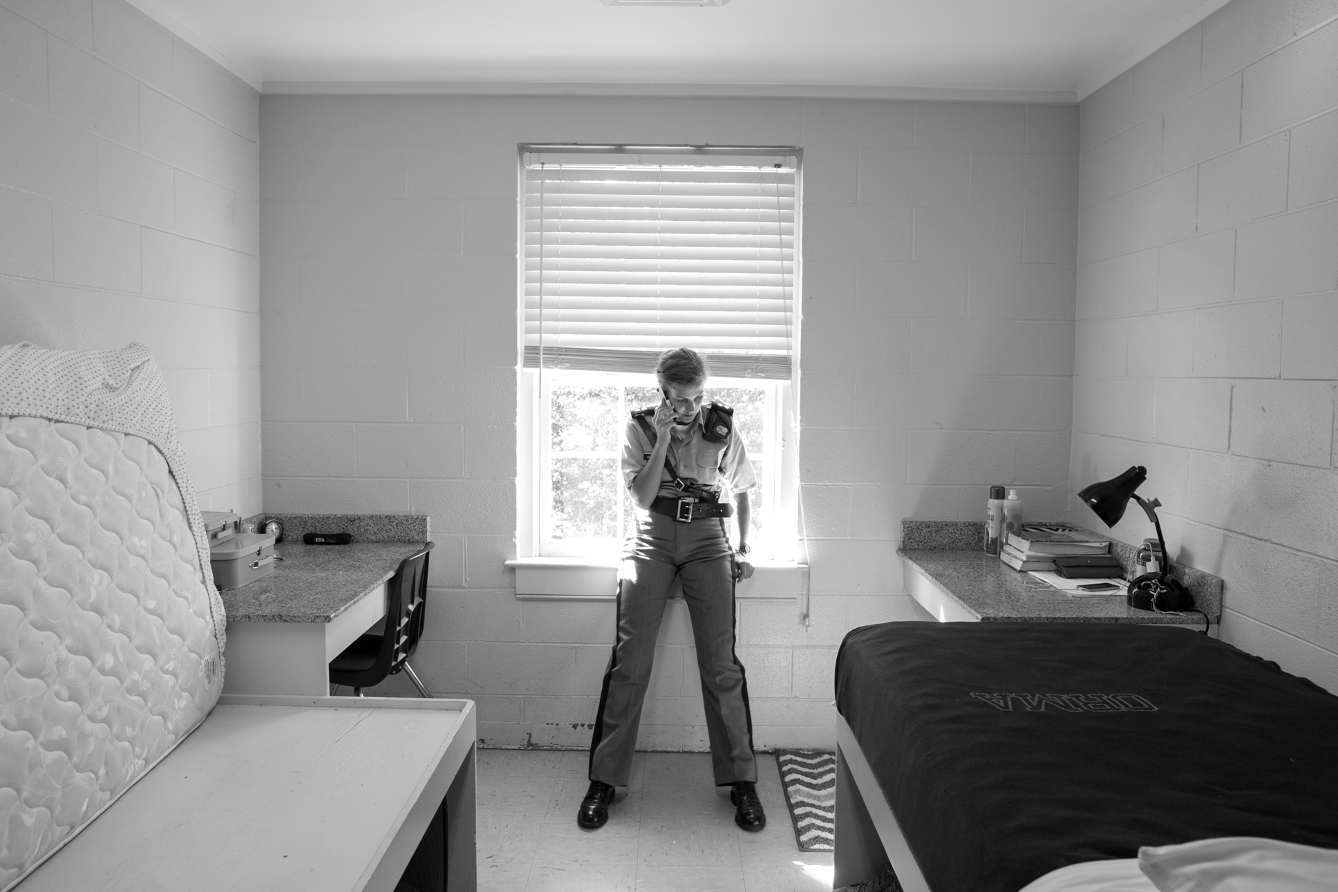 Captain Whitehead, a senior and second in command of the entire platoon, calls her mom in a moment of downtime. The cadets' rooms must remain neat and tidy at all times, and are subject to inspection at a moment's notice.
